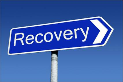 "Blue road sign with ""Recovery"" written on it"