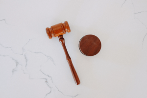 Judge gavel on white background